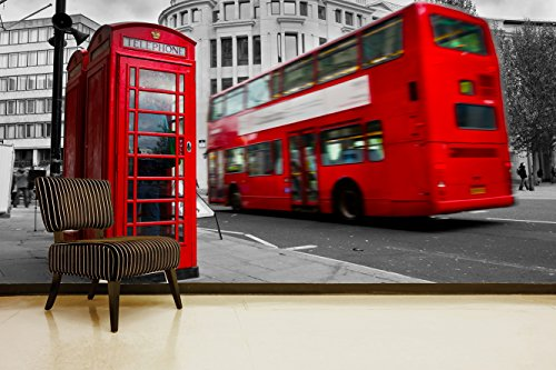 Fotomural Vinilo Pared Cabina Teléfonos y Autobús Londres | Fotomurales pared | Fotomural Decorativo | Vinilo Decorativo | Varias Medidas 150 x 100 cm | Decoración comedores salones | Motivos Paisajisticos
