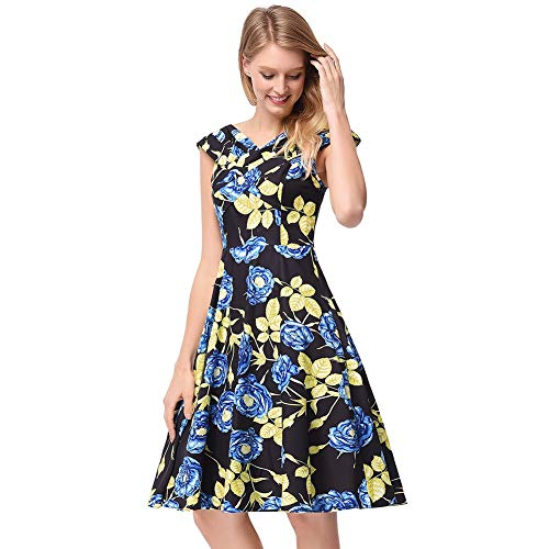 Rocke Retro Wide-Lapel Floral Breasted Kleid 50er Jahre Vintage Hepburn Swing Kleid mit Gürtel (Farbe : Blau, Size : L) (Blues Kostüm Marine Kleid)