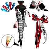 Unbekannt BASTELSET - 3D Effekt - Schultüte + 5 kleine Zuckertüten -  Fisch - Hai Happen - Fische  - inkl. individuelle große Schleife - 85 cm - mit Holzspitze - Filz..