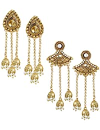 Zaveri Pearls Ethnic Jhumkis for Women (Golden) (ZPFK6396)
