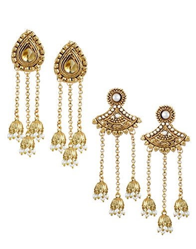 Zaveri Pearls Combo of 2 Beautiful Beaded Jhumki Drop Earring For Women-ZPFK6396
