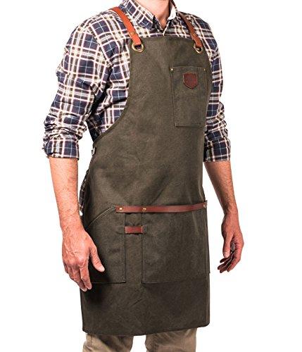 Alaskan MAKER N°547 Delantal para hombre en tela revestida de Algodón vintage y Cuero, Múltiples bolsillos. Sistema de correas cruzadas - Tamaño universal