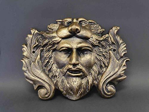 Antike Fundgrube Wandmaske Wanddeko Löwenkopf und eines Mannes aus Gusseisen H: 30 cm (8361)