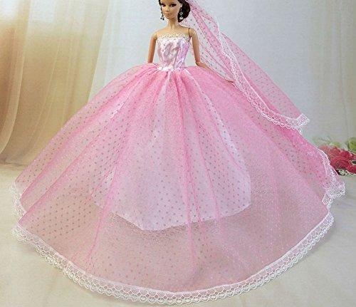 BU-02 Schöne und modische handgefertigte elegante schöne Hochzeit Abend-Partei-Kleid für Barbie Puppe(Puppen nicht im Lieferumfang enthalten) 1