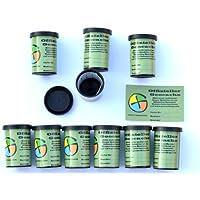 10 x Geocaching Filmdosen mit wasserfesten Logstreifen und Aufkleber Geocaching Paket - Powertrail Multi