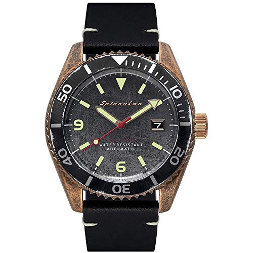 SPINNAKER Men's Wreck 43mm Black Leather Band Steel Case Automatic Grey Dial Analog Watch SP-5065-04
