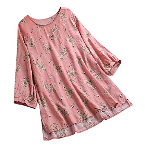 LILICAT Damen Sommer Casual Bluse Leinen Printed T Shirt Button Down TopLoose Sommerkleid Tops Mode Easy Top Shirt Elegant Lose Kurz Hinten Lang Blusen