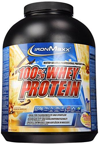 IronMaxx 100% Whey Proteinpulver – Vanille Eiweißpulver Whey für Proteinshake – Wasserlösliches Proteinpulver mit French Vanilla Geschmack – 1 x 2,35 kg Dose