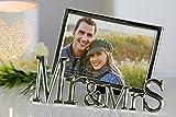 Moderner Bilderrahmen Fotorahmen MR & MRS aus Metall 15,5x21cm für Bilder im Format 10x15cm