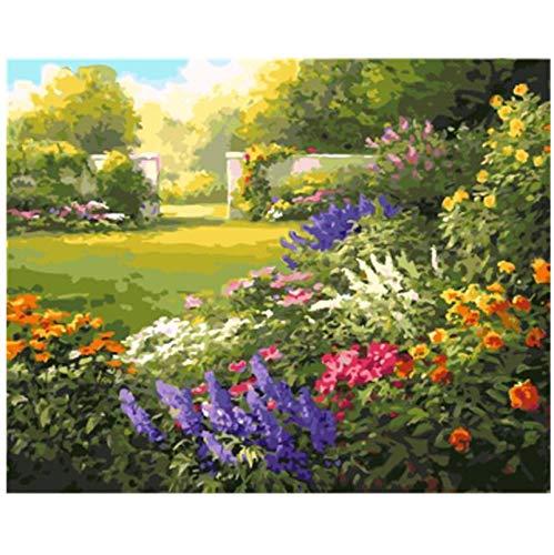 Quadro senza cornice Pittura fai-da-te con numeri Pittura a olio su tela fai-da-te Decorazioni per la casa di fiori per soggiorno Wall Art 40 * 50cm