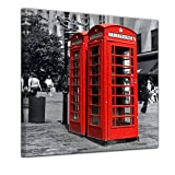 Bilderdepot24 Kunstdruck - Rote Telefonzelle in London - Bild auf Leinwand - 40 x 40 cm - Leinwandbilder - Bilder als Leinwanddruck - Wandbild Städte & Kulturen - Europa - England - Klassiker