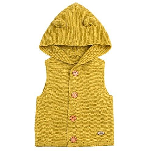 Kapuze Weste Kleinkind Kinder, DoraMe Baby Mädchen Jungen Winter Warme Kleidung Dicken ärmellose Mantel Outwear Mode Solide Bluse für 3-24 Monate (Gelb, 6 Monate)