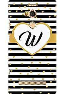 AMEZ designer printed 3d premium high quality back case cover for Gionee Elife E8 (Striped With Golden Hearts Alphabet W)
