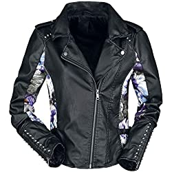 Fashion Victim Floral Imitation Leather Jacket Chaqueta imitación Cuero Negro S