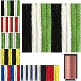 Flauschvorhang in Fussballvereins- und Länderfarben, Campingvorhang Insektenschutz, Auswahl: 90x200 cm Unistreifen schwarz - grün - weiß