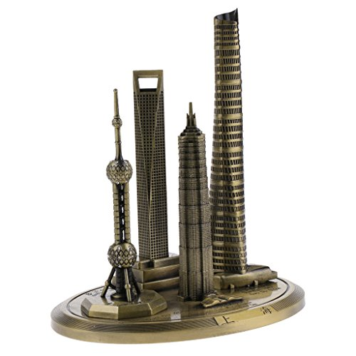 MagiDeal Metall Shanghai Marksteingebäude Bronze Statue Modell Dekoration - Höhe: 20 cm