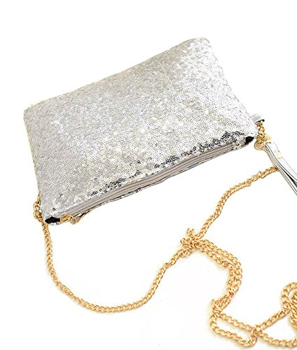 Kotiger Fashion vintage con paillettes busta festa sera frizione borsa borsetta per party, Black Silver