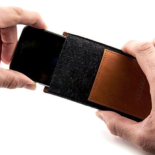 """Pochette étui de protection QUADOCTA """"N° 5"""" en cuir pour iPhone d'Apple 7 Plus 5,5 pouces, noir (midnight black) en cuir véritable. Pochette en cuir fin comme accessoire élégant pour iPhone 7 Plus (5, Anthrazit Tabacco"""