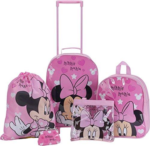 Minnie Mouse 5pezzi Set di valigie Trolley Zaino Scarpe Borsa Tutto incluso e custodia Charm