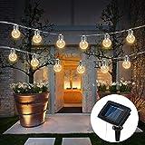 Wafly 20er LED Lichterkette Solar Außen Warmweiß, 6M IP65 Wasserdicht Kupferdraht Drahtlichterkette Fairy Lights Weihnachtsbeleuchtung für Garten Hochzeit Valentinstag Geburstag