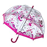 Bugzz Kids Clear Princess Print Umbrella Transparent and Pink