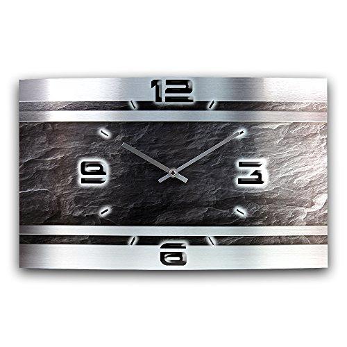 Schiefer Abstrakt Metallic Designer Funk Wanduhr Funkuhr modernes Design * Made in Germany* WAG307FL * leise kein Ticken