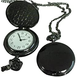 Custom engraved black metal pocket watch pendant with necklace chain in presentation gift box - ref-PWblk
