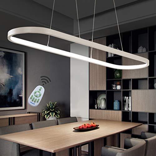 Pendelleuchte LED Dimmbar Esstisch Pendellampe, Landhaus Stil Büro Deckenleuchte, mit Fernbedienung Design Lampen Acryl Lampenschirm Kronleuchter für Wohnzimmer Schlafzimmer Esszimmer Küche (Weiß) -