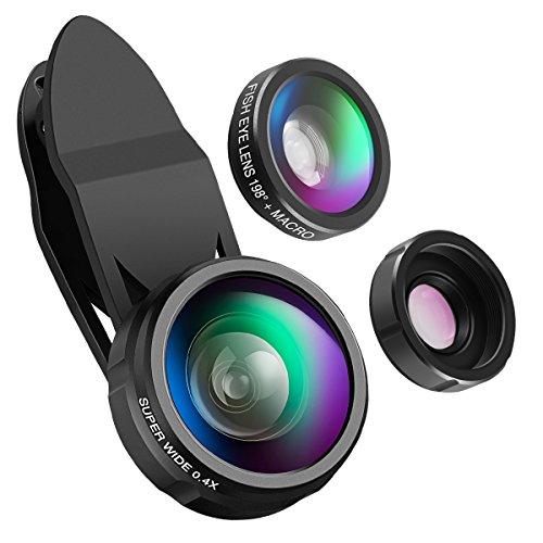 【Neue Version】ORIA 3 in 1 Handy Objektiv Set, Professionel Clip-On Kamera Adapter 198° Fisheye Objektiv + 0.4X Weitwinkel + 15X Makro Objektiv, HD Lens für iPhone, iPad, Samsung, Huawei, HTC und Meisten Android Smartphone