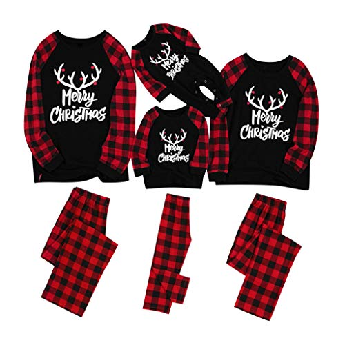 Fenverk Weihnachten Familie Outfit Set Matching Lange Ärmel Bluse + Plaid Lange Hosen Pyjama Set Xmas Schlafanzüge Nachtwäsche Feiertag Suit für Dad Mom Kinder Mädchen Jungen (A,Baby : 12-18Month)
