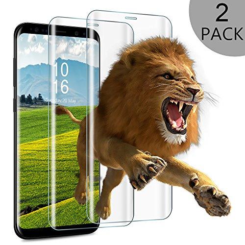 Panzerglas Schutzfolie für Samsung Galaxy S8, 2 Stück Wsky Vollständige Abdeckung Displayschutzfolie für Samsung Galaxy S8, 9H Härte, Anti-Kratz, Ultra Transparenz Full HD, 3D Curved(5,8 Zoll)