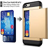 iPhone 6 / 6s Case with Card Holder and[ Screen Protector Tempered Glass x2Pack] SUPBEC i Phone 6 / 6s Wallet Case Cover with Shockproof Silicone TPU + Anti-Scratch Hard PC - Full Protective (Gold)