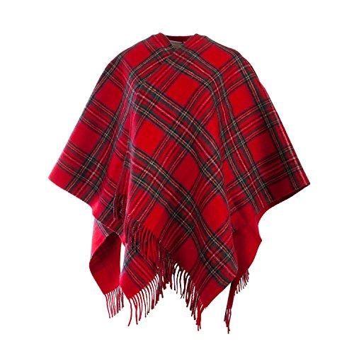 Edinburgh Lambswool - Poncho -  donna STEWART ROYAL/RED