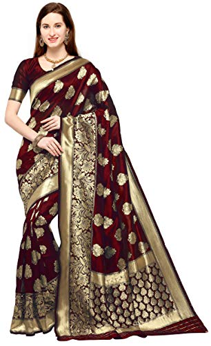 KEDARFAB Women's Banarasi Silk Saree With Blouse Piece (Maroon Gold)