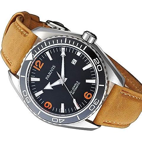 whatswatch PARNIS 45mm bisel de cerámica de cristal de zafiro luminoso automático hombres 316L reloj