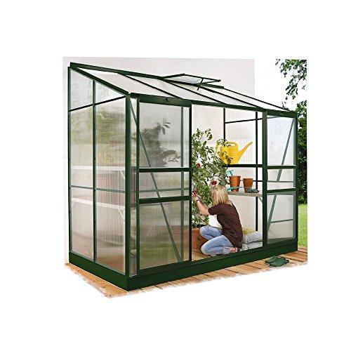 Ida 7800 Alu-Anlehngewächshaus HKP 4 mm grün 7,8 m² mit Fundament