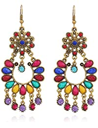 Yellow Chimes Fashion Unique Stylish Gold Plated Chand Bali Earrings for Women (Multi-color)(YCCHER-15-MC)