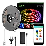 LE Intelligente LED Streifen Set Bluetooth RGBW, 5M 5050 150 LEDs Wasserfest LED Strip RGB+Warmweiß, Smartphone kontrolliert Lichtband Lichterkette, inklusive 12V 3A Adapter