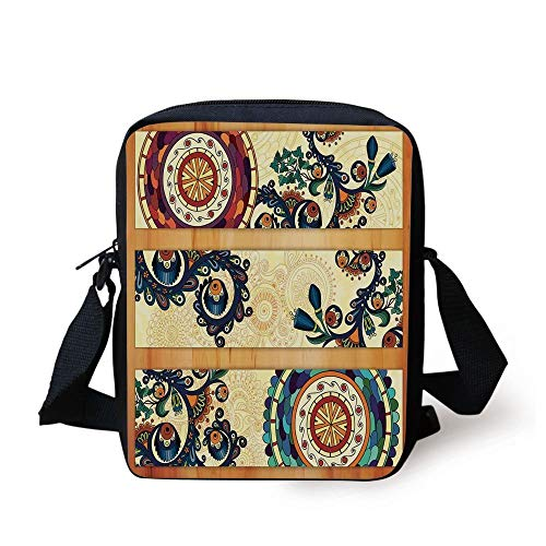CBBBB Batik Decor,Oriental Vintage Paisley Batik Pattern with Eastern Motif Elements Stylized in Flat Boho Decor,Multi Print Kids Crossbody Messenger Bag Purse -