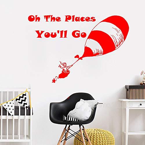 zqyjhkou 163x110cm Big Size Wall Stickr Zitat Oh die Orte, an die Sie gehen Werden Kunstwand Wandtattoos Für Kinderzimmer Vinyl Poster Baby Nursery 3 L 163cm x 110cm