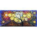 Árbol de la Vida - Panorama - Pintura al óleo pintada a mano sobre lienzo - Excelente calidad y la artesaníaTranscription de trabajo inspirador de Klimt.