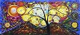Rflkt Árbol de la Vida - Panorama - Pintura al óleo pintada a mano sobre lienzo -...