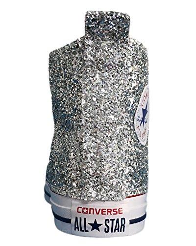 Converse All Star con applicazione glitter argento e lamina argento Argento