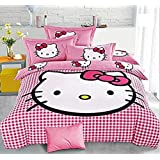 SinghsVillas Decor Attractive Skin Friendly Hello Kitty King Size Cotton Double Bedsheet with 2 Pillow Covers (Pink)