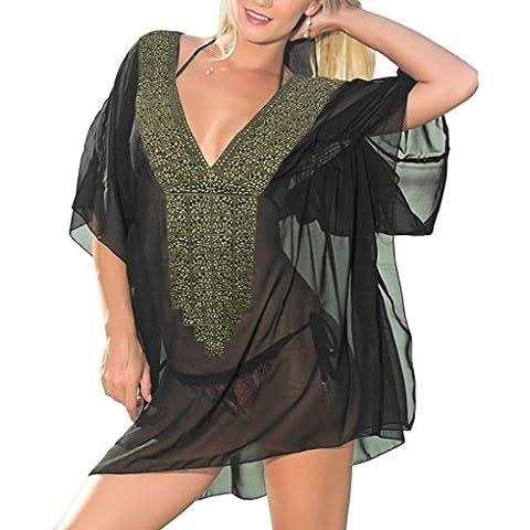 La Leela pura donne chiffon superleggeri mano di paillettes ricamati con scollo a V 4 in 1 spiaggia di occultamento bikini tunica top base coulisse vestito casuale più il caftano formato