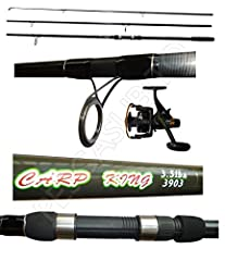 Idea Regalo - Kit Canna Carpfishing 3 Pezzi Mulinello Zonda Pesca Carpa Carp Fishing Carbonio