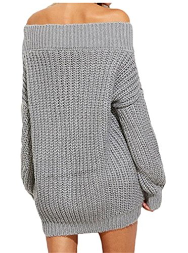 SHUNLIU Damen Pullover Pulli Schulterfrei Elegant Langarm V-Ausschnitt Casual Bluse Strickpullover Hemd T-shirt Grau