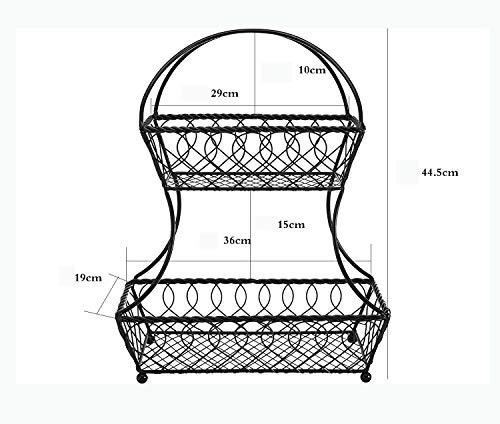 LEMONCOFFEE SHOP Lagerung Eisen Einfache Wohnzimmer Küche Lagerung Obstkorb Gitter Doppel Draht Obstkorb Schwarz (Color : Black)