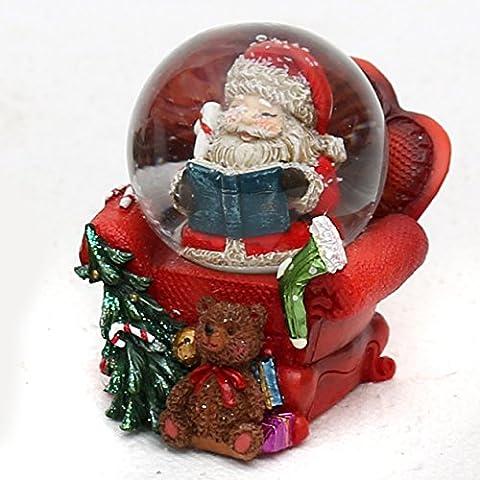 Mini Poly Schneekugel, Santa Claus im Sessel, Ø 4,5 cm (Dresden Sessel)