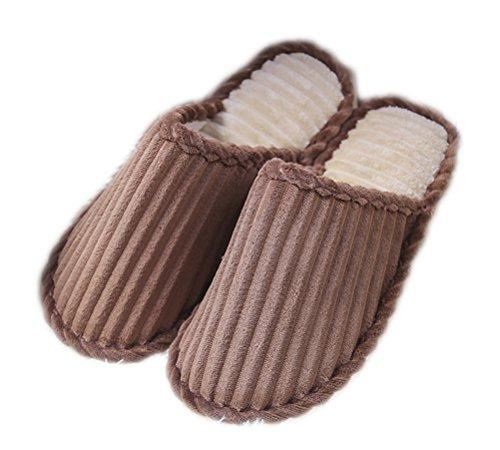 Auspicious beginning Belle couleur de bonbons confortables pantoufles Slip-on House polaire antidérapante Couple chaussures d'intérieur Café